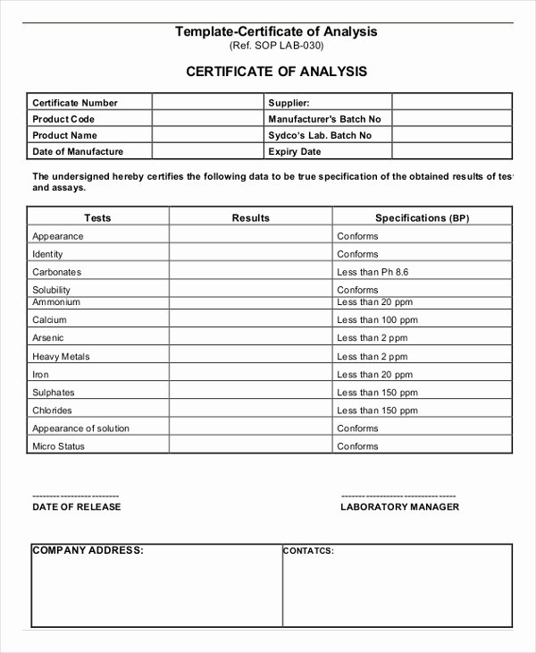 Certificate Of Analysis Template Inspirational Certificate Analysis