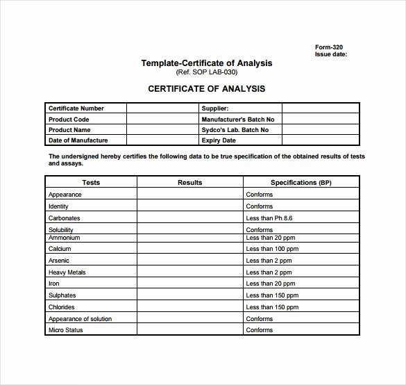 Certificate Of Analysis Template New Certificate Analysis Template