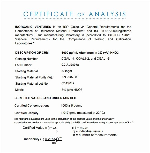 Certificate Of Analysis Template New Certificate Analysis Template Simple Cost Benefit