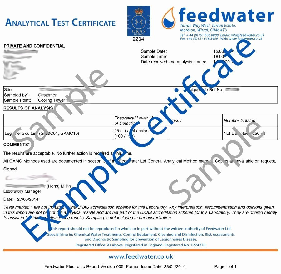 Certificate Of Analysis Template New Swimming Pool Spa Microbial Water Analysis – Feedwater