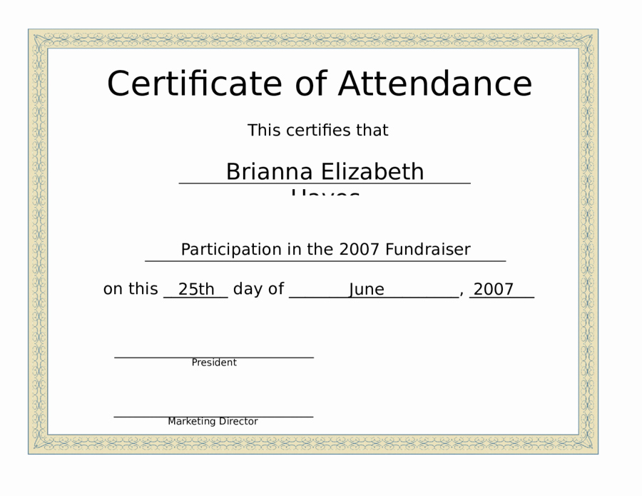 Certificate Of attendance Template Beautiful 2019 Certificate Of attendance Fillable Printable Pdf