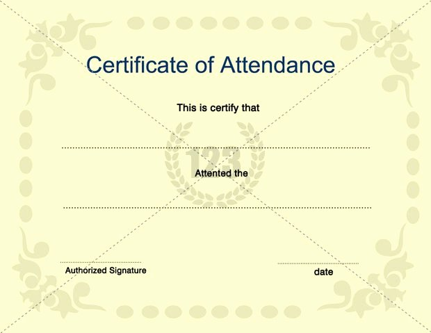 Certificate Of attendance Template Elegant Certificate Of attendance Template for Free and Premium