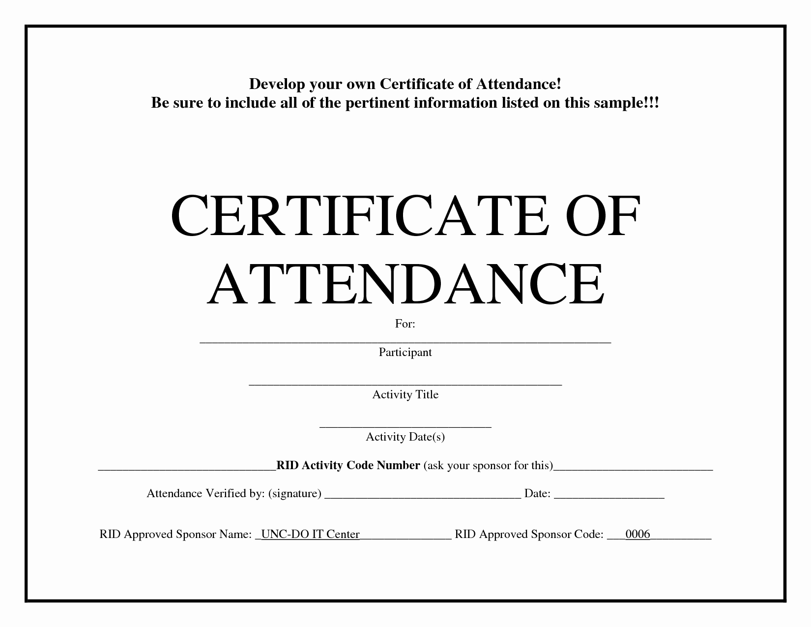 Certificate Of attendance Template Fresh Certificate Of attendance Templates
