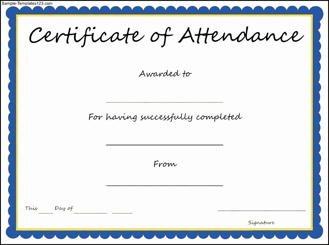Certificate Of attendance Template Inspirational attendance Certificates Free Templates Mughals
