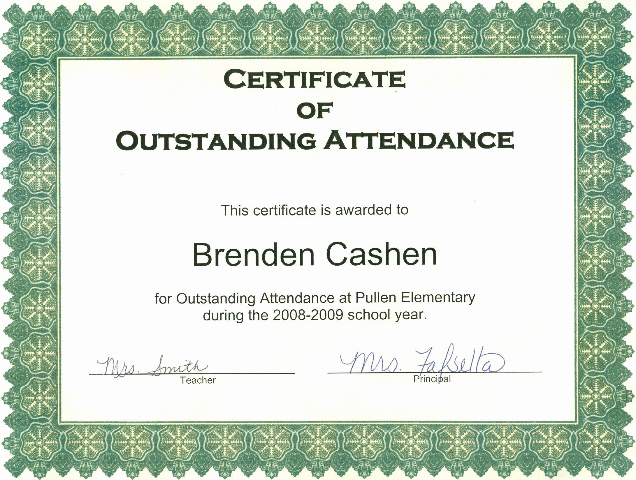Certificate Of attendance Template Inspirational Ideas 100 attendance Certificate Templateheivments
