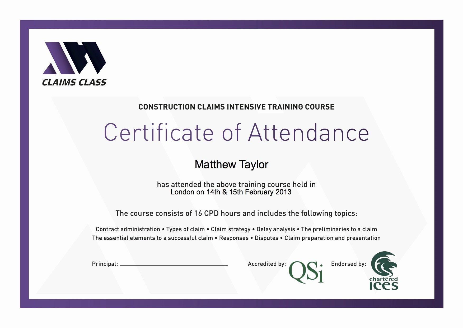Certificate Of attendance Template Lovely Certificate attendance