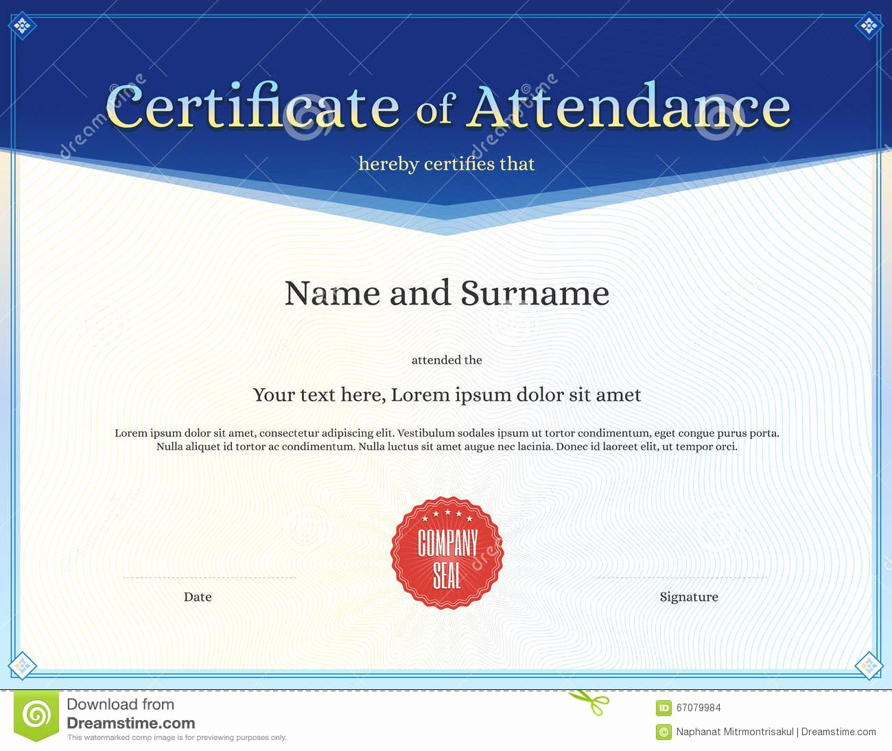 Certificate Of attendance Template Unique Certificate attendance Template In Vector Stock Vector