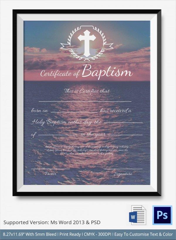 Certificate Of Baptism Template Beautiful 20 Baptism Certificates