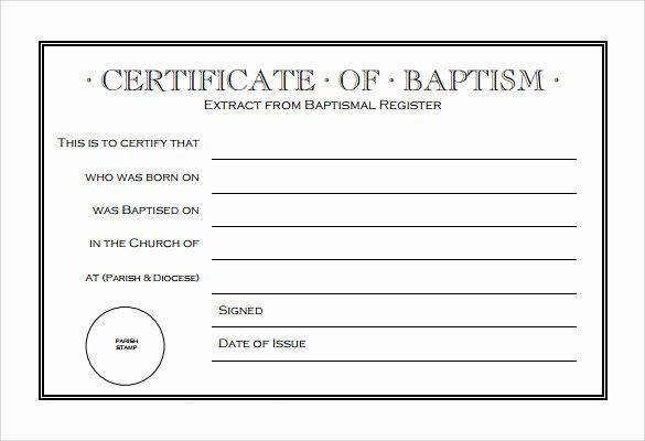 Certificate Of Baptism Template Elegant 14 Baptism Certificate Templates – Samples Examples