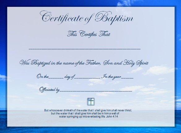 Certificate Of Baptism Template Fresh Word Certificate Template 49 Free Download Samples