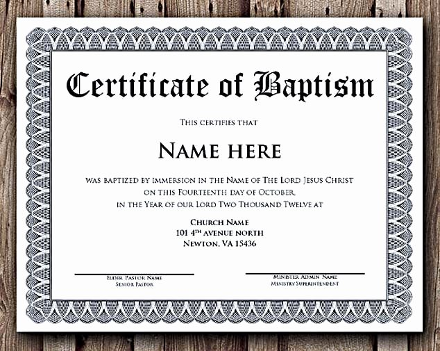Certificate Of Baptism Template Inspirational Baptism Certificate Word Editable Template Selecting