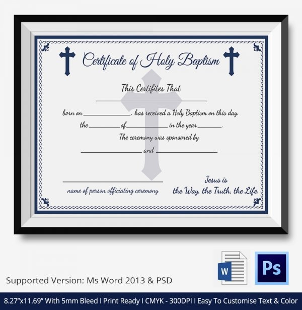 Certificate Of Baptism Template Luxury 20 Sample Baptism Certificate Templates Free Sample