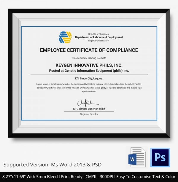 Certificate Of Compliance Template Best Of Certificate Of Pliance Templates – 9 Word Pdf Psd