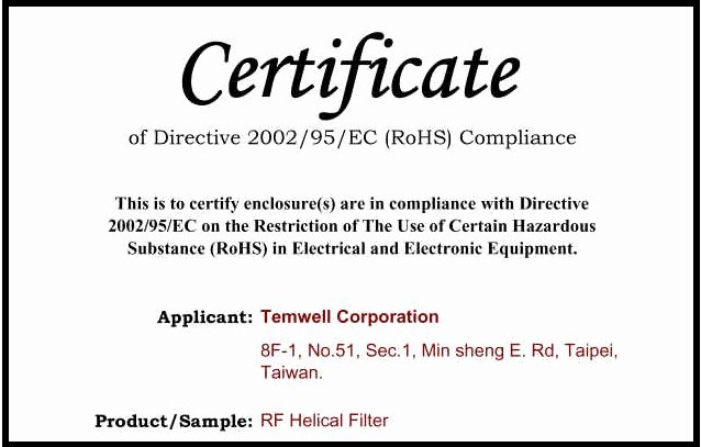 Certificate Of Compliance Template Elegant Temwell Corporation