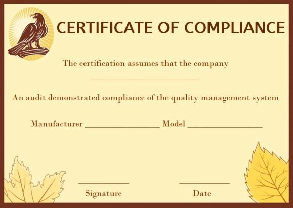 Certificate Of Compliance Template Fresh 16 Downloadable and Printable Certificate Of Pliance