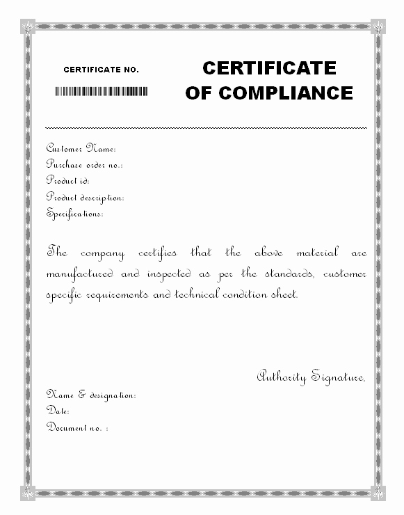 Certificate Of Compliance Template Fresh Free Certificate Of Pliance form Video Search Engine