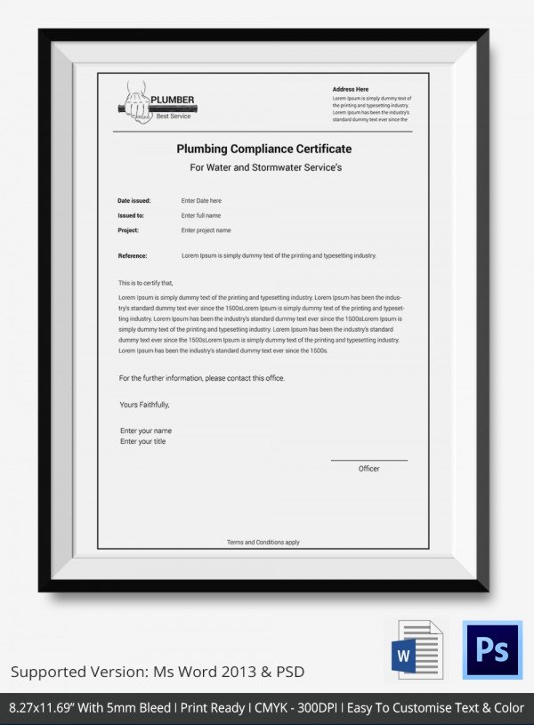Certificate Of Compliance Template Inspirational Certificate Of Pliance Templates – 9 Word Pdf Psd