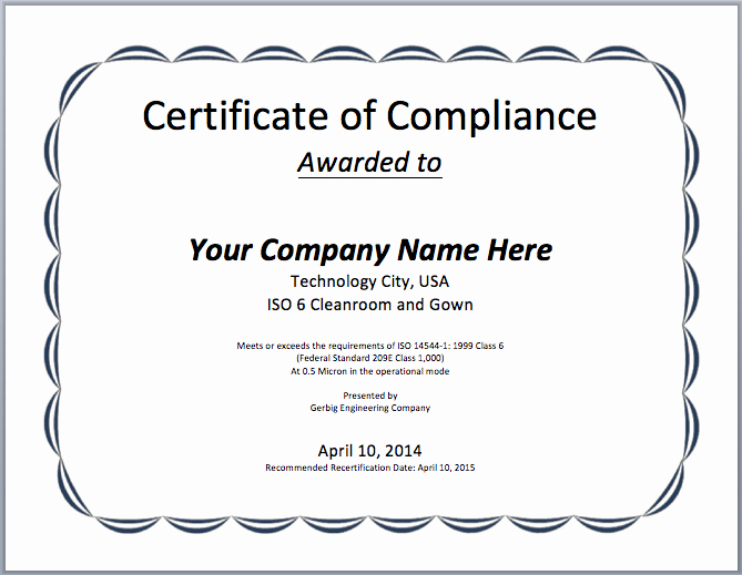 Certificate Of Compliance Template Luxury Pliance Certificate Template Microsoft Word Templates