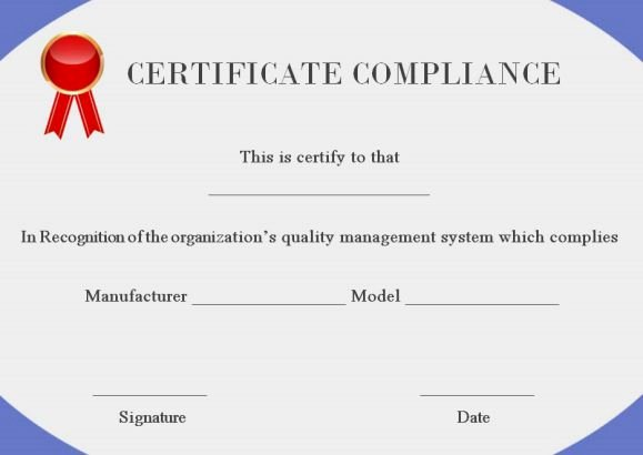 Certificate Of Compliance Template New 16 Downloadable and Printable Certificate Of Pliance