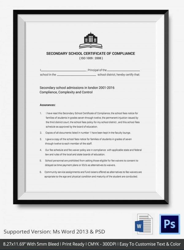 Certificate Of Compliance Template New Certificate Of Pliance Templates – 9 Word Pdf Psd