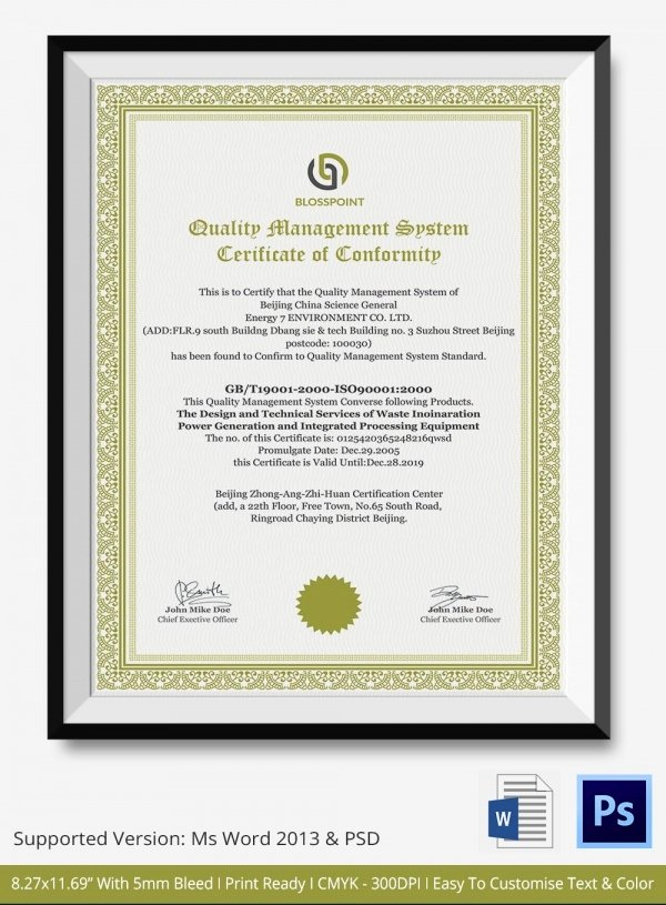 Certificate Of Conformance Template Best Of Certificate Of Conformance Template 7 Free Word Pdf