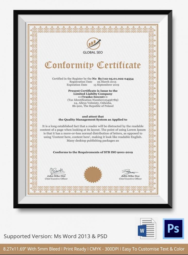 Certificate Of Conformance Template Fresh 7 Conformance Certificates Psd & Word Designs