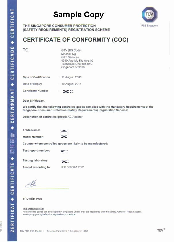 Certificate Of Conformance Template Fresh Certificate Conformity Coc Under Cps Scheme Buy