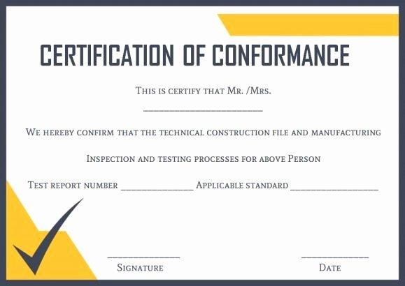 Certificate Of Conformance Template Inspirational Certificate Of Conformance Template