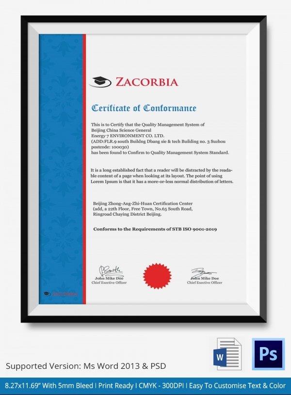 Certificate Of Conformance Template Luxury Certificate Of Conformance Template 7 Free Word Pdf