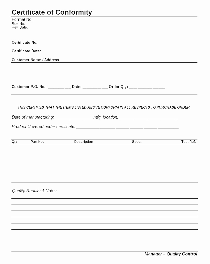 Certificate Of Conformance Template Luxury Certificate Of Conformity format