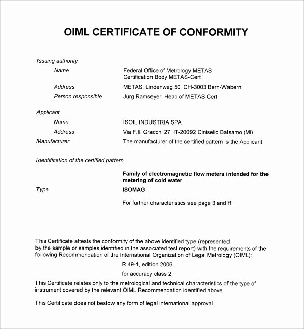 Certificate Of Conformance Template New 13 Conformity Certificate Templates to Download