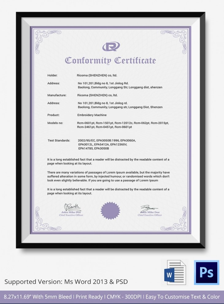 Certificate Of Conformance Template New 7 Conformance Certificates Psd & Word Designs