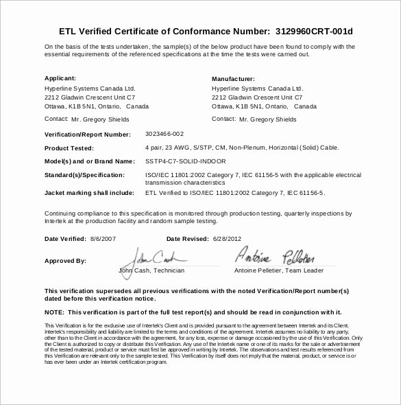 Certificate Of Conformance Template New Sample Certificate Of Conformance 21 Documents In Pdf
