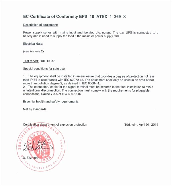 Certificate Of Conformance Template New Sample Conformity Certificate Template 9 Free Documents