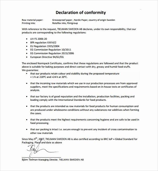 Certificate Of Conformance Template Unique 13 Conformity Certificate Templates to Download