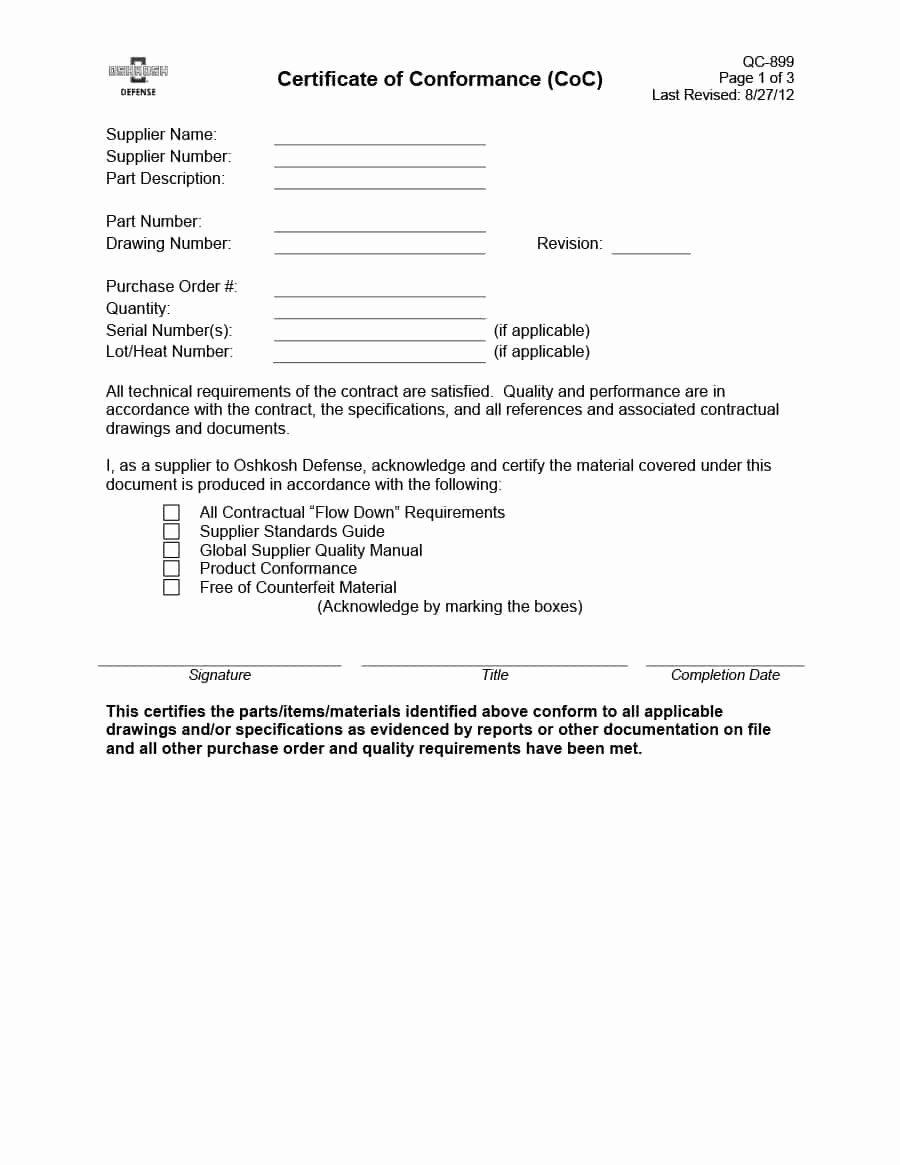 Certificate Of Conformance Template Unique 40 Free Certificate Of Conformance Templates & forms