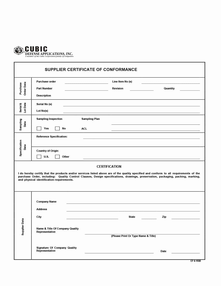 Certificate Of Conformity Template Best Of 40 Free Certificate Of Conformance Templates & forms