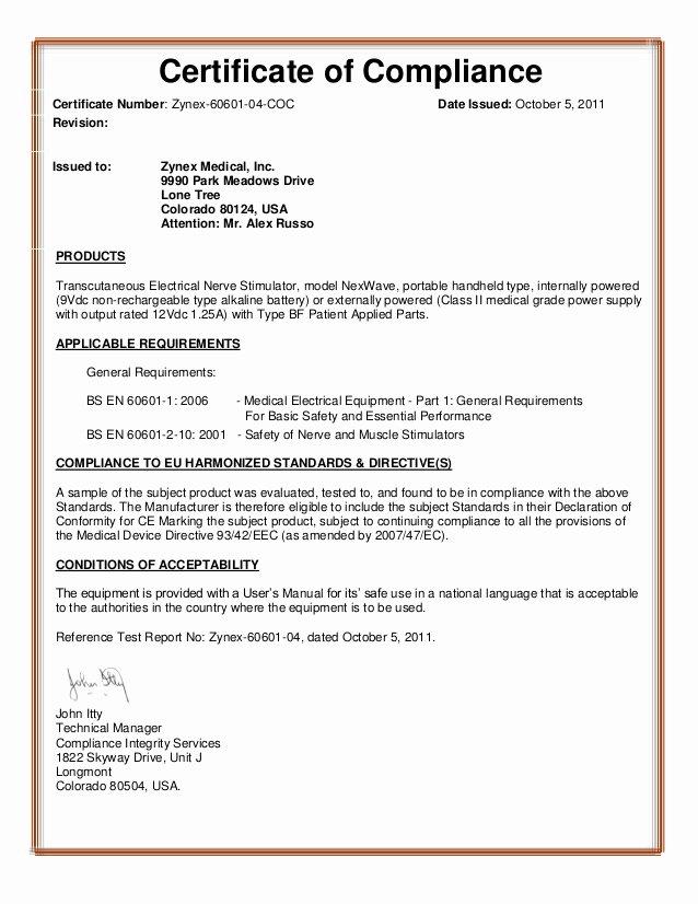 Certificate Of Conformity Template Elegant Certificate Pliance Template