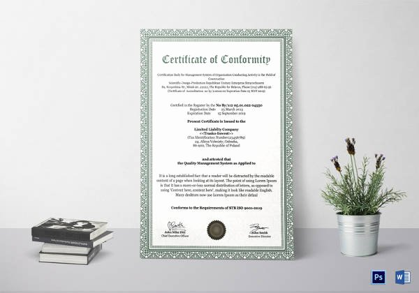 Certificate Of Conformity Template Inspirational Certificate Of Conformance Template 8 Word Psd Ai