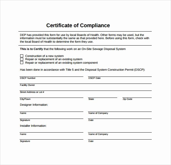 Certificate Of Conformity Template Inspirational Sample Certificate Of Pliance Template 15 Free