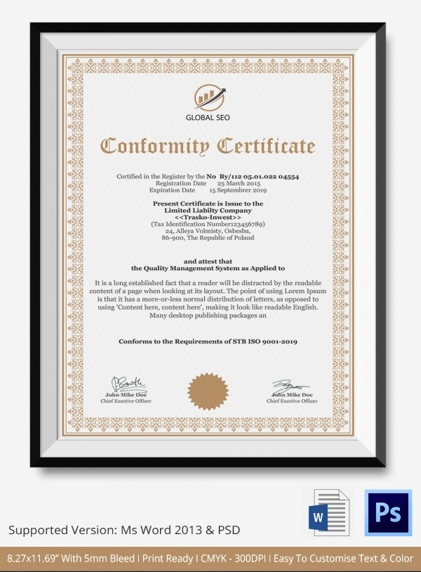Certificate Of Conformity Template Lovely Certificate Of Conformance Template 8 Word Psd Ai