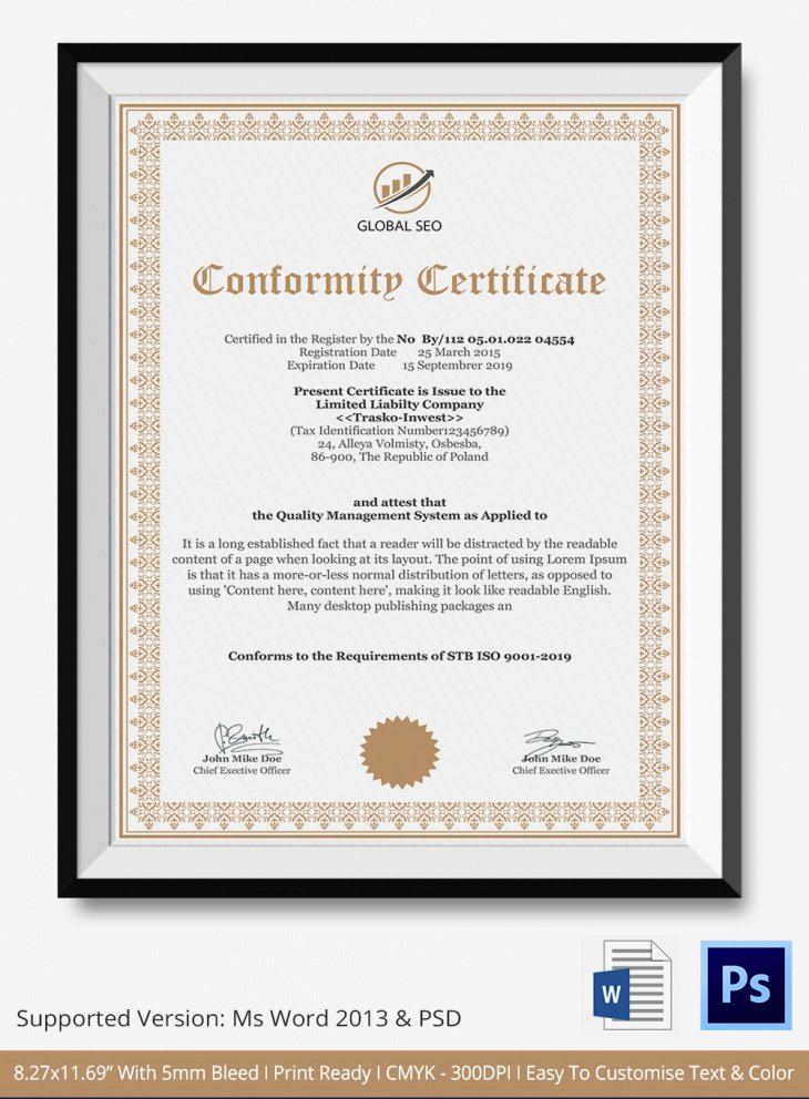 Certificate Of Conformity Template Luxury 7 Conformance Certificates Psd & Word Designs
