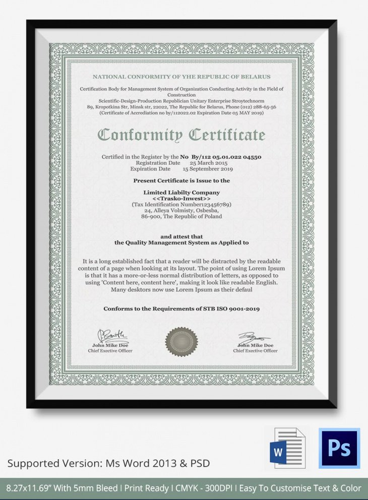 Certificate Of Conformity Template New 7 Conformance Certificates Psd & Word Designs