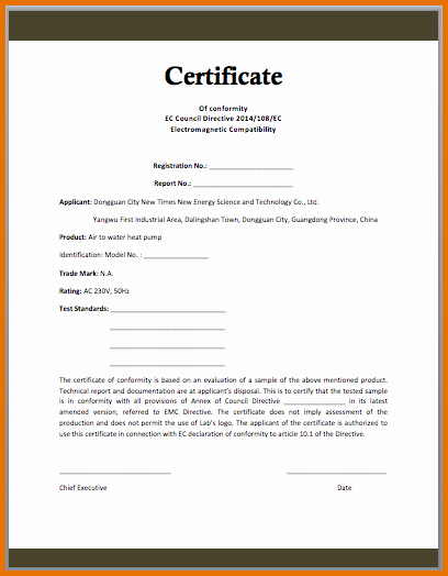 Certificate Of Conformity Template New Certificate Conformance 40 Free Certificate Of