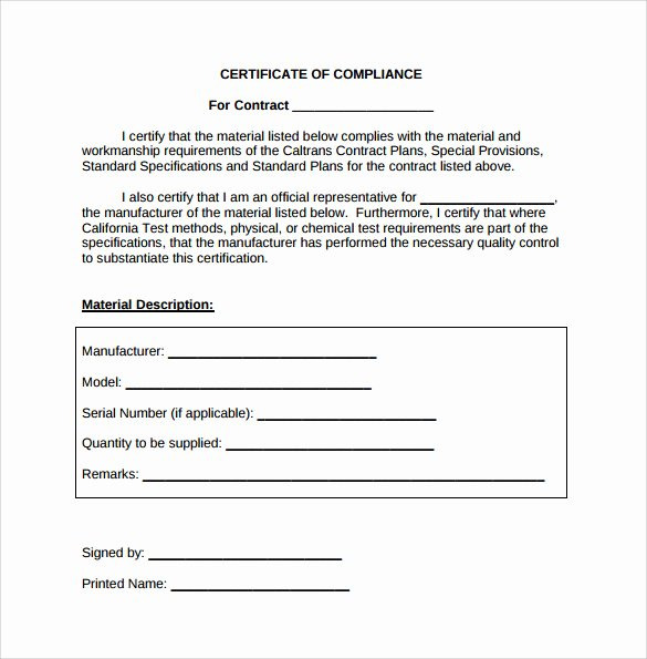 Certificate Of Conformity Template New Sample Certificate Of Pliance 16 Documents In Pdf