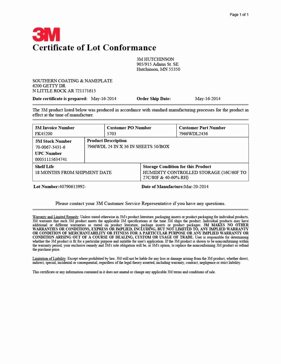 Certificate Of Conformity Template Unique 40 Free Certificate Of Conformance Templates & forms