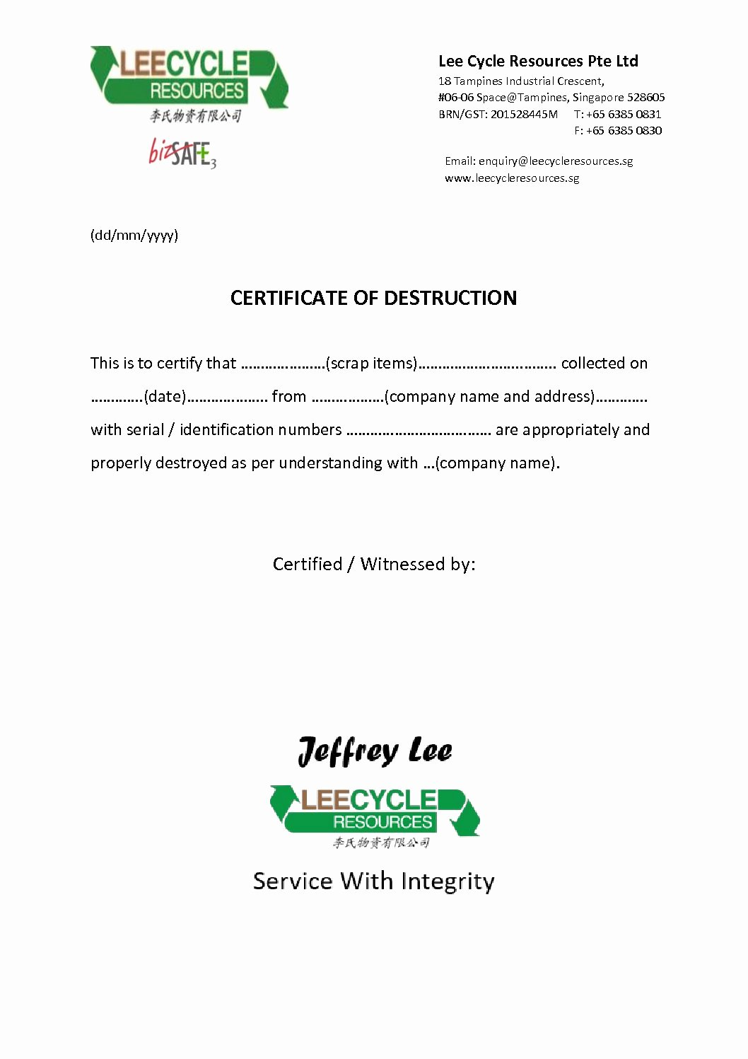 Certificate Of Destruction Template Best Of Certificate Destruction Leecycle Resources Singapore
