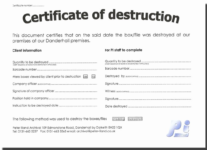 Certificate Of Destruction Template Elegant Untitled Document [ Illand]