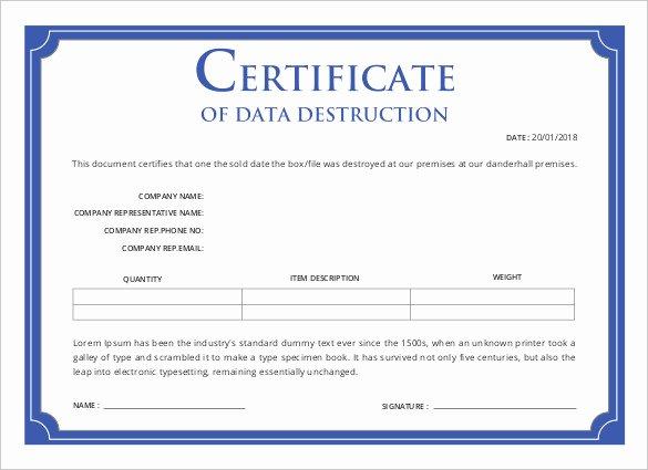 Certificate Of Destruction Template Fresh Printable Certificate Template 46 Adobe Illustrator