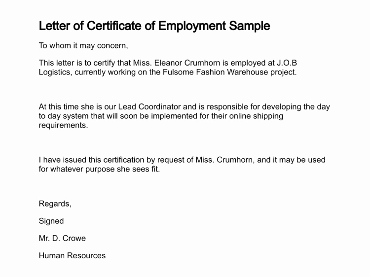 Certificate Of Employment Template Awesome Certificate Employment Currently Employed